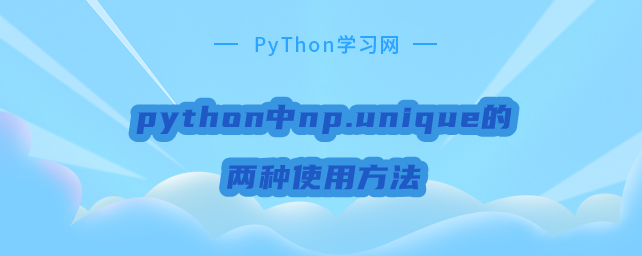python中np.unique的两种使用方法